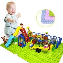 Duploe большой Конструкторы база пластины 404 точек DIY большой Строительная пластина для строительных блоков игрушечные лошадки для детей Совместимость с Legoed Duploe