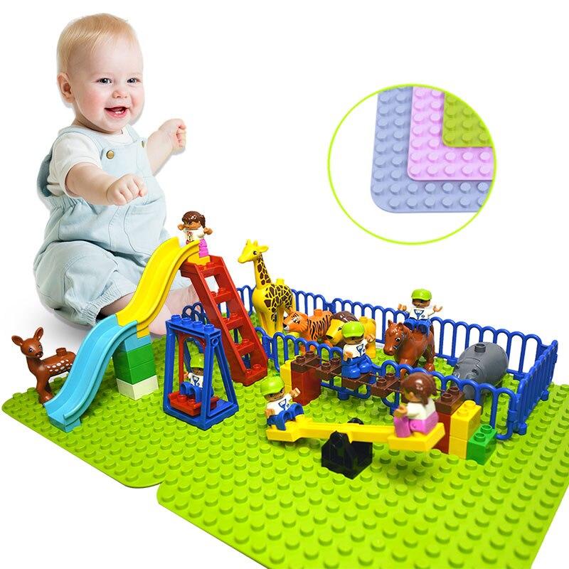 Duploe grandes bloques de placa Base 404 puntos DIY grandes placa Base de bloques de construcción de juguetes para los niños Compatible con Legoed Duploe