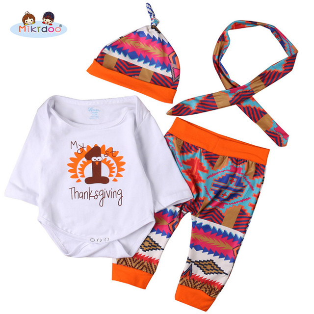 595c200b0a146 Thanksgiving Baby Boys Girls My 1st Thanksgiving Outfit Letters Print  Romper Printing Pant with Hat Headband