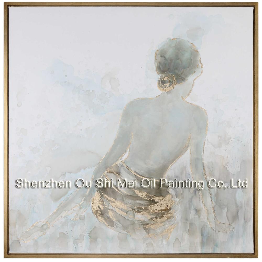 Pintado a mano de oro Highlig Sexy Woman's Back figura pinturas al - Decoración del hogar