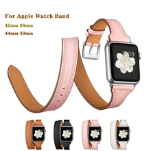 Double Circle band for Apple Watch 4 44/40/42/38mm Genuine Leather Bracelet Strap iwatch series 3/2/1 men&women watches