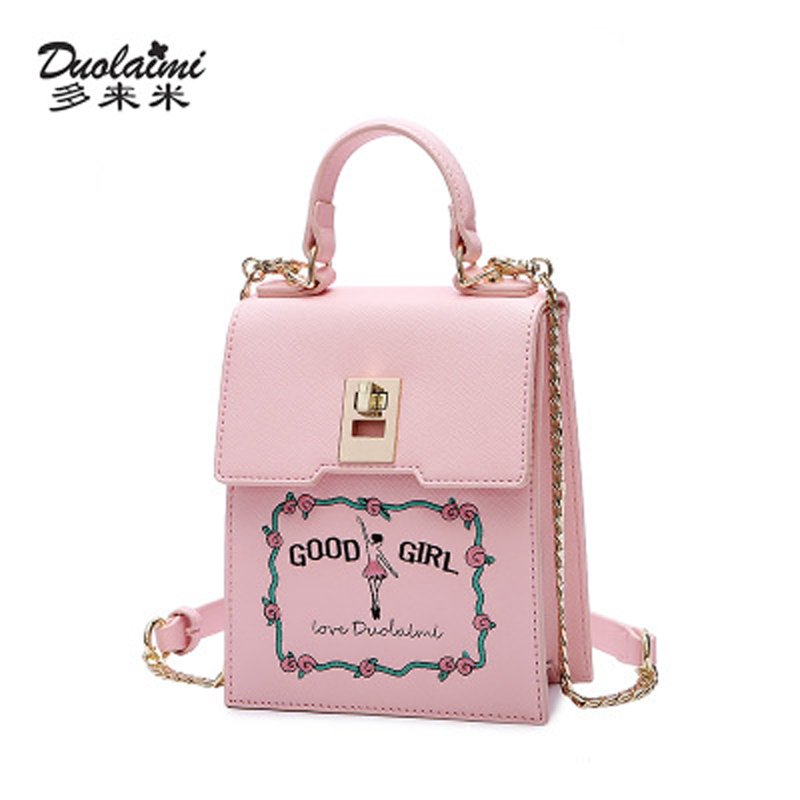 DUOLAIMI 2017 New Arrival Pink Embroidery Girl Floral Cover Lock Women s Shoulder Bag Crossbody Totes