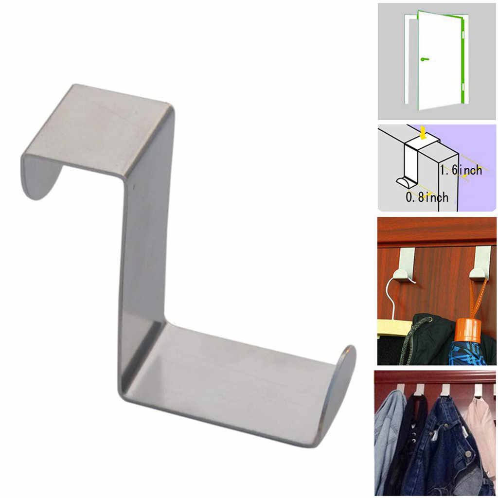 Door Hook Stainless Kitchen Cabinet Clothes Hanger Hook Stainless steel hook bathroom hook Storage clothes debris J0619