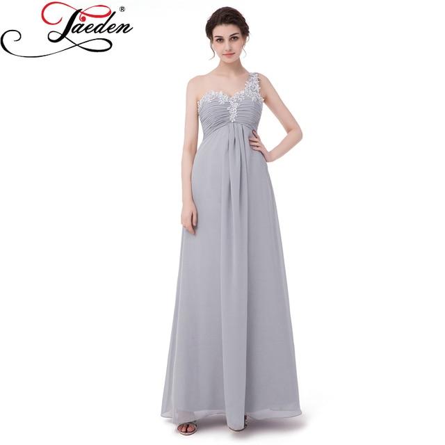 JAEDEN One Shoulder Appliques Evening Dresses Pastel Gray Chiffon A ...