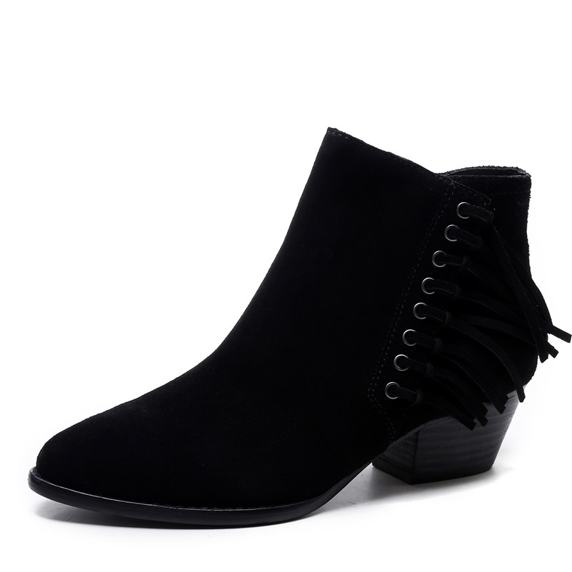 Qualité Chaussures Noir Bureau Bottes marron Femmes Parti Automne Neige Hiver Cheville Daim En Vache Conasco Arrivée Chaud Élégant Glands Nouvelle Femme rdxBoeCW