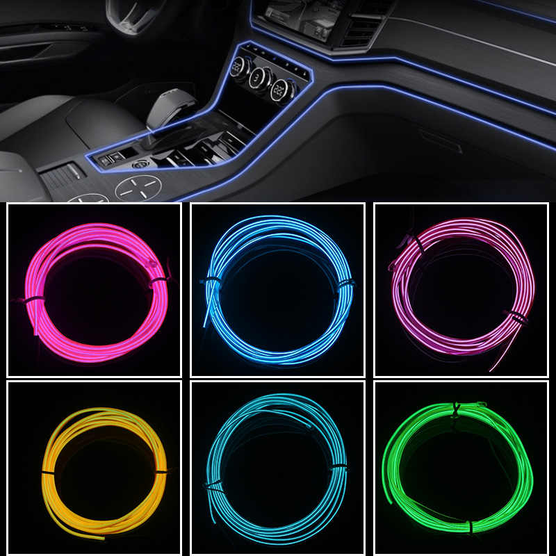 Car interior Lighting Decorative Lamp 1M 2M 3M 5M LED Strip Garland EL Wire Rope Tube Line flexible Neon Light With 12V