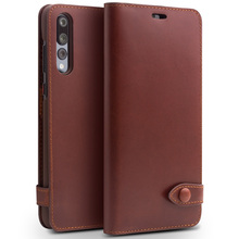 Купить с кэшбэком QIALINO Fashion Button Bag CardSlot Phone Cover for Huawei Ascend P20 Luxury Genuine Leather Wallet Flip Case for Huawei P20 Pro