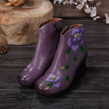 Genuine leather boots wedge high heels 2016 new women boots manual coloured drawing flowers leisure comfortable ankle boots