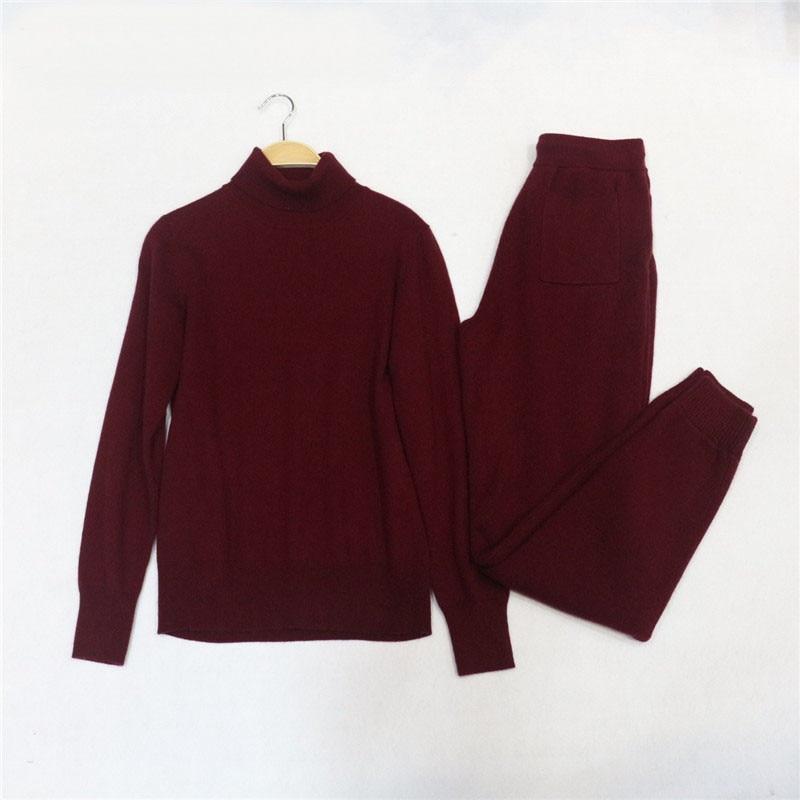 Haut Velours Laine Col Vison Kaki bleu Directe Cachemire Plein Pantalon Chandail 2018 Tricoté Loisirs rouge Nouveau Vente gris Deux Pièce Costume 1B84zxwnq