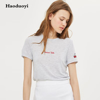 Haoduoyi Grey T Shirts Women Cotton With Cherry For Summer 2017 Half Sleeve Plus Size Tshirts