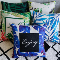 Modern Decorative Pillow Cushion Covers Green Leaves Home Decor Cushion Throw Pillow Cases Sofa Cover For