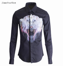 New Fashion Spring Autumn Lion Head Digital 3D Print Catwalk Style British Style Men Long-sleeve Slim Casual Cotton Shirt