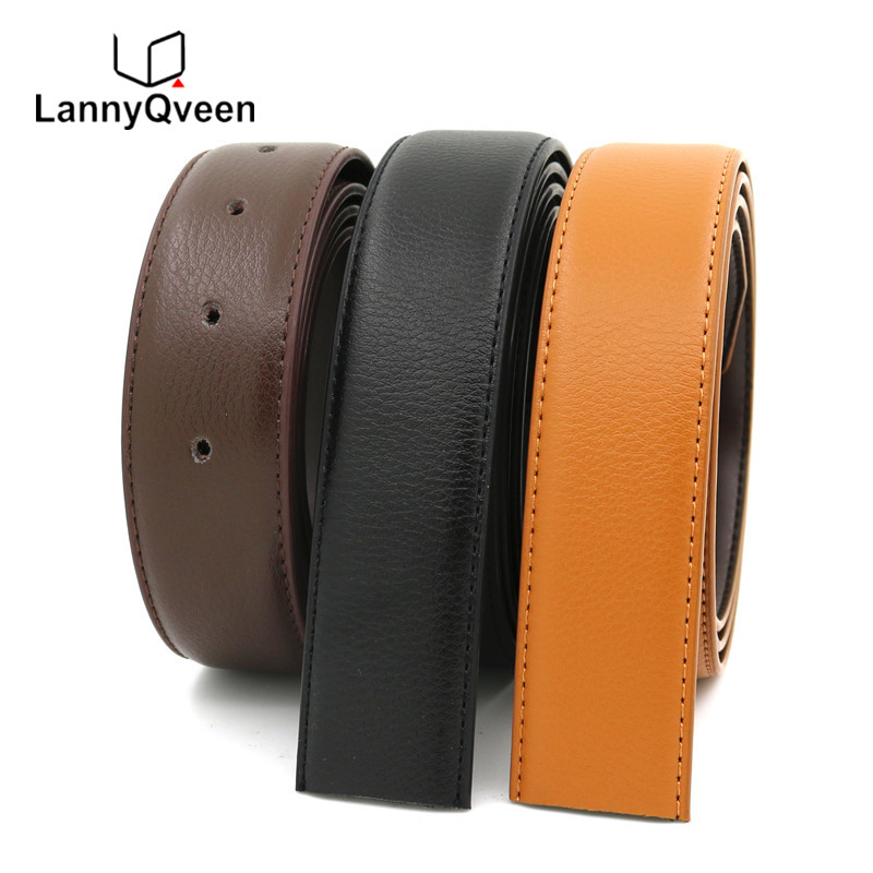 LannyQveen   belt   strap with holes men plate buckle   belts   without buckle leather   belt   free shipping