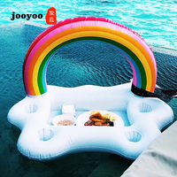 Summer Party Bucket Rainbow Cloud Holder Inflatable Pool Float Beer Drinking Cooler Table Bar Tray Beach Swimming Ring jooyoo