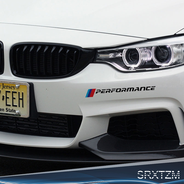 Srxtzm 2pc car front bumper sticker decals for bmw e90 e46 e39 e60 f30 f10 f34