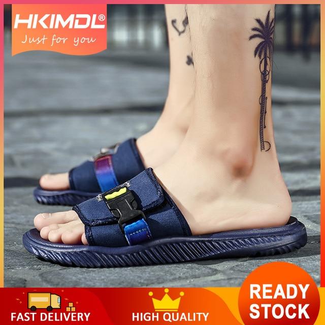 HKIMDL Soft Comfortable Flip Flops Fashion Outdoor Sea and Beach Casual Men Slipper Black Home Slippers Male Non-slip