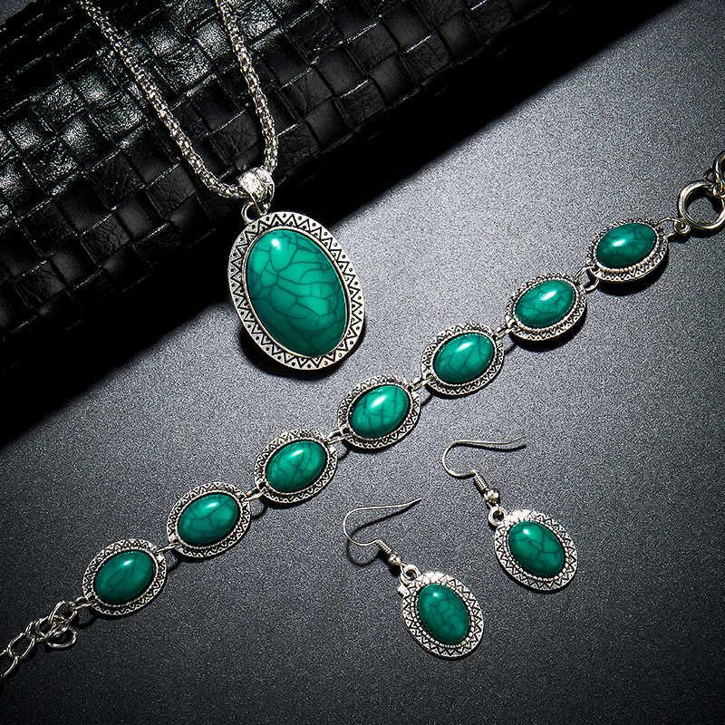 Vintage Antike Silber Oval Halskette Armband Ohrring Charme Anhänger Baumeln Schmuck Set für Frauen Shellhard Schmuck weiblichen geschenk