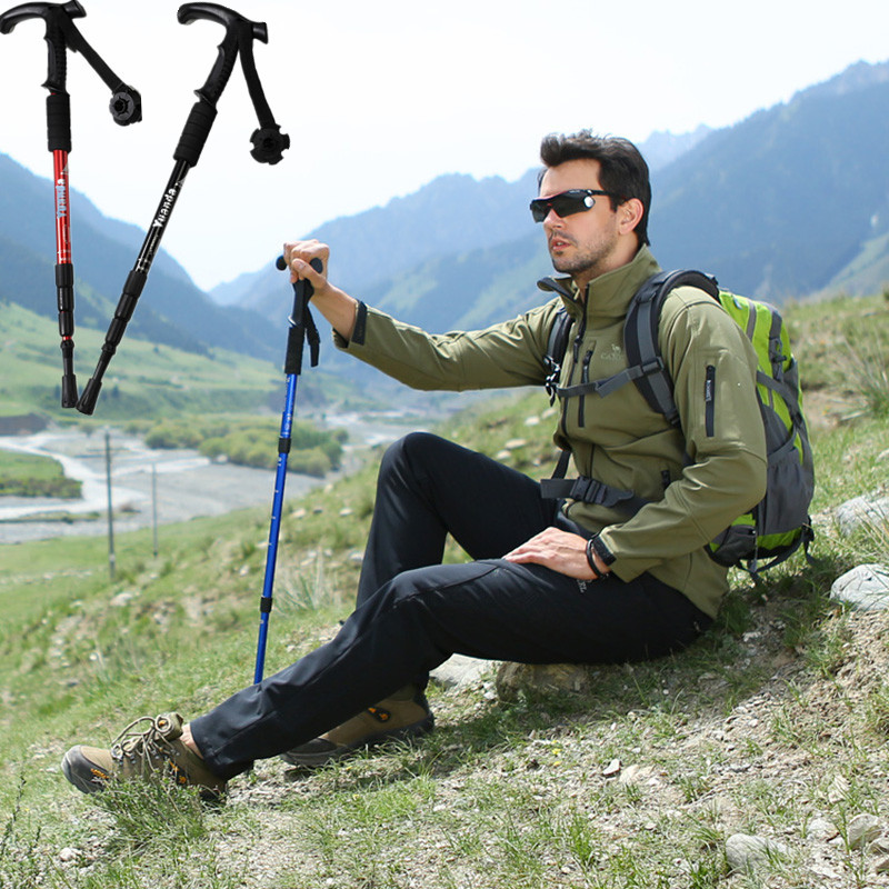 4-Section Retractable Folding adjustable Anti-Shock Alloy Hiking Camping Climbing walking Trekking stick Pole Crutches Cane