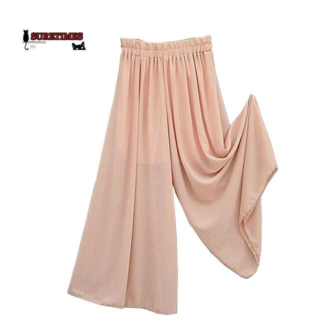 9865240249f1 Femmes Longue Jambe Large Pantalon Solide En Mousseline de Soie Jupe  Pantalons Mode Jupes Culottes Sarouel