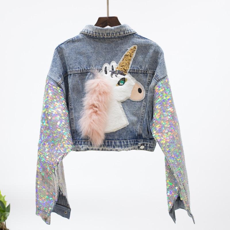 TREND Setter 2018 Spring Fashion Denim Jacket Women Sequins Sleeve With Unicorn Pattern Jean High Waist