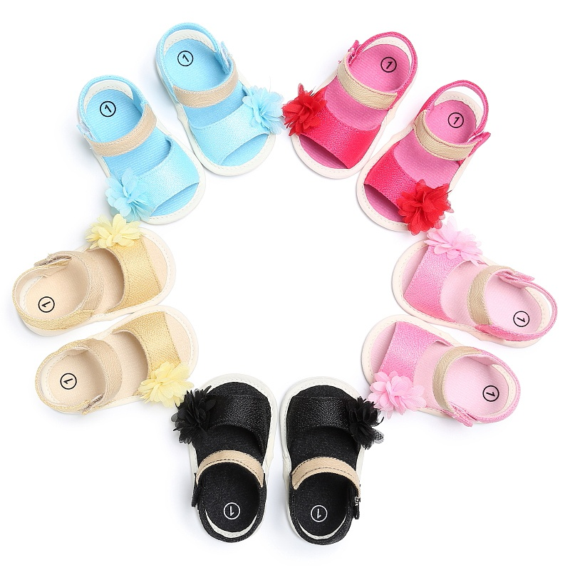 Fashion 0-2Y Baby Girls Sandals Fashion Flower Hook And Loop Summer Shoes
