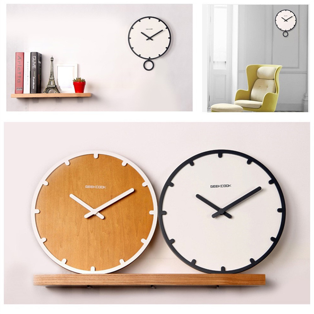 Pendulum Clock Wood Modern Wall IKEA For Living Room Silent 35cm White