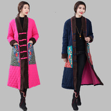 Chinese Traditional Cotton-Padded Trench Coat Linen Cotton Padded Maxi Long Coats Parka Loose Women Retro Outerwear Long Jacket цена 2017