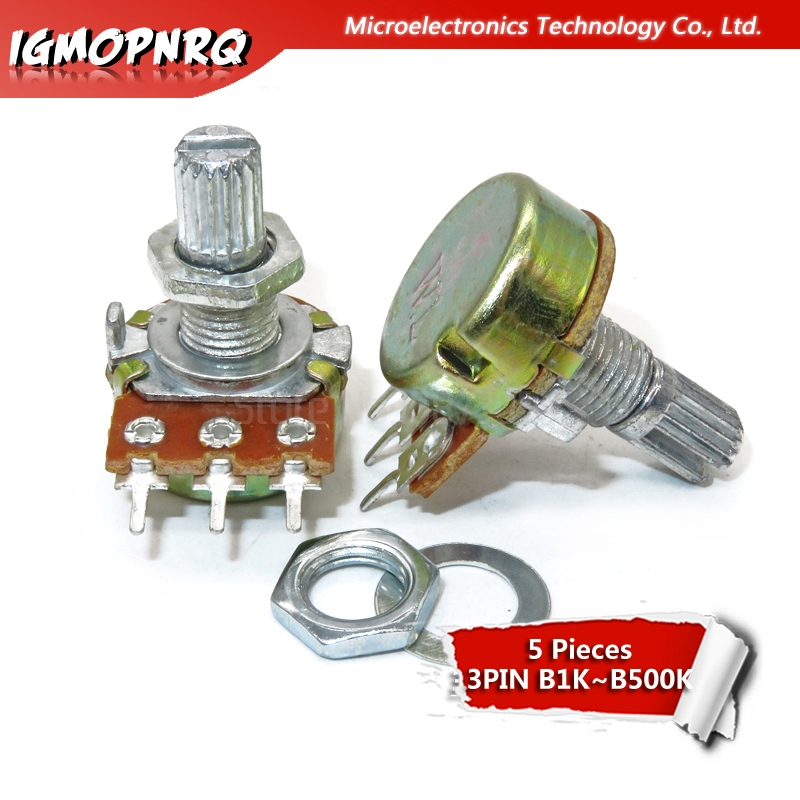 5PCS WH148  Potentiometer 3PIN 15mm Shaft With Nuts And Washers WH148 B1K B2K B5K B10K B20K B50K B100K B250K B500K B1M