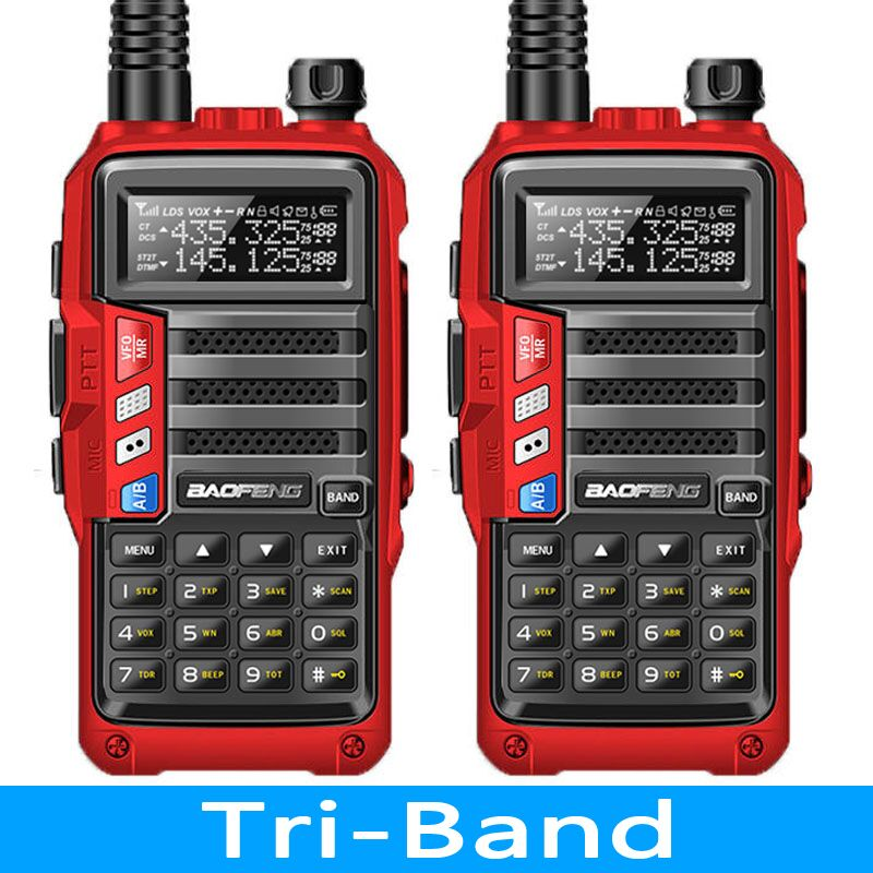 2PCS BaoFeng UV S9 8Watt Powerful Tri Band 136 174 220 260 400 520Mhz 2xAntenna Amateur