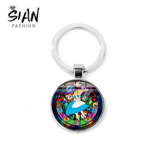 SIAN Queen of Heart Alice in Wonderland Keychain Cute Alice Princess Key Ring Holder Glass Dome Key Chain Girls Theme Party Gift(China)