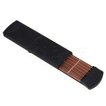 Yibuy Black Plastic 4 Fret 6 String Travel Pocket Guitar  Portable Practice Tool