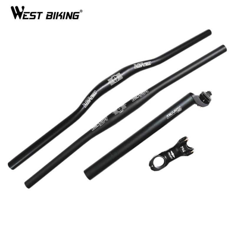 WEST BIKING Cycling MTB Handlebar Bicycle Stem Cycling Seatpost Tube + Flat or Riser Mountain Bike Bar Cycling Bicycle Handlebar cycling king c k 2015 mtb handlebar bicycle stem carbon seatpost tube flat or riser mountain bike bar top carbon super set