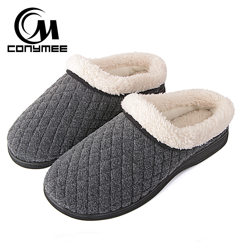 CONYMEE Winter Men Shoes Plus Size Slippers Thicken Warm Cotton Sneakers For Mens Home Slipper Pantufa Indoor Plush Erkek Terlik|Slippers| |  - title=