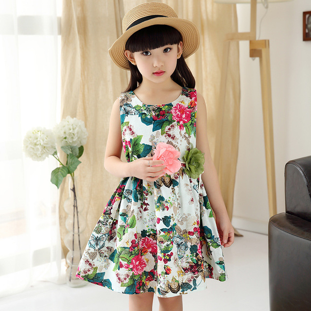 Fl Print Dress S Summer Flower With Belt 2017 Children Elegant Dresses For
