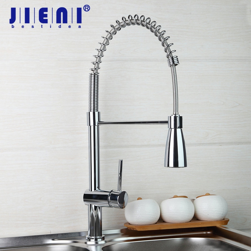 Kitchen Faucet Solid Brass Chrome Polished Kitchen Faucet Swivel & Pull Down Spout Vessel Sink Mixer Tap polished chrome brass vessel sink mixer tap kitchen faucet spring faucet dual swivel spout 8 cover plate