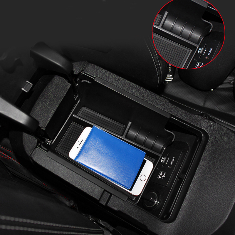 1pcs Car Organizer For Ford Mustang 2015 2016 Central Armrest Storage Box Container Glove Holder ...