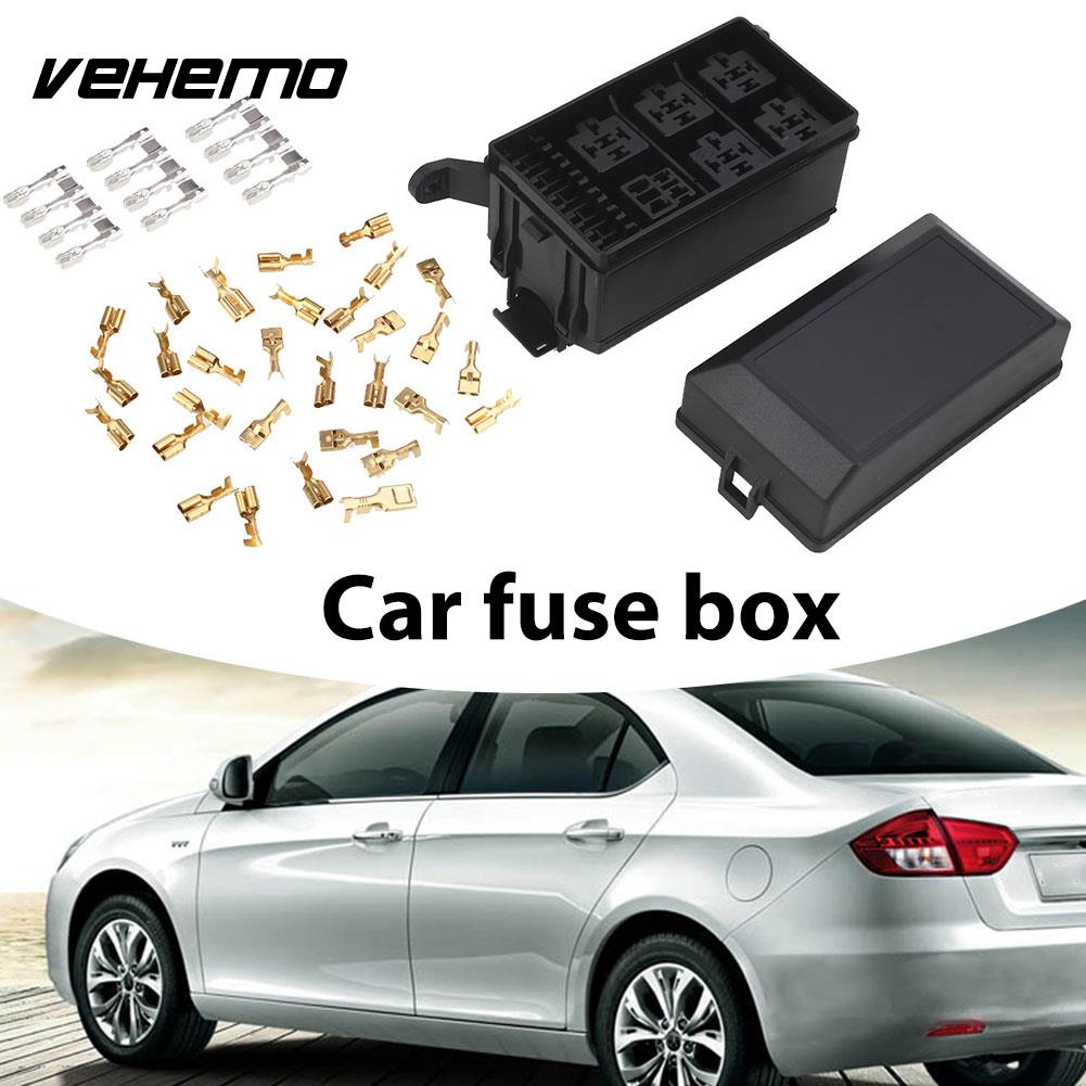 hight resolution of 2018 car fuse box universal 6 relay block holder dc 12v 20a socket durable spare fuse box holder automobile in fuses from automobiles motorcycles on