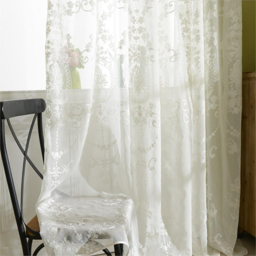 Tulle curtains luxury embroidered white sheer curtain