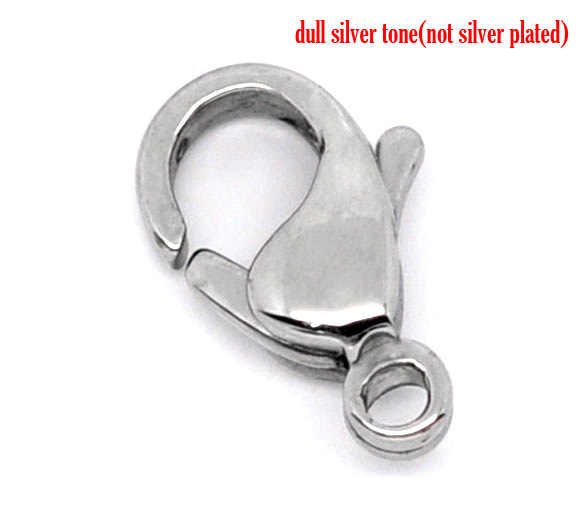 Silver Tone Stainless Steel Lobster Clasps. Fits   12x7.5mm, sold per packet of 2 new