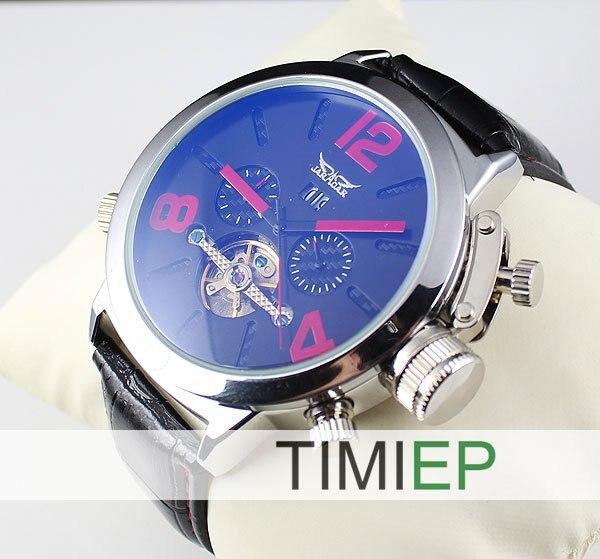 лучшая цена Green concept Hot! Mens Big Face Leather Band Wrist Watch Skeleton Tourbillon Automatic Mechanical Sports Watch