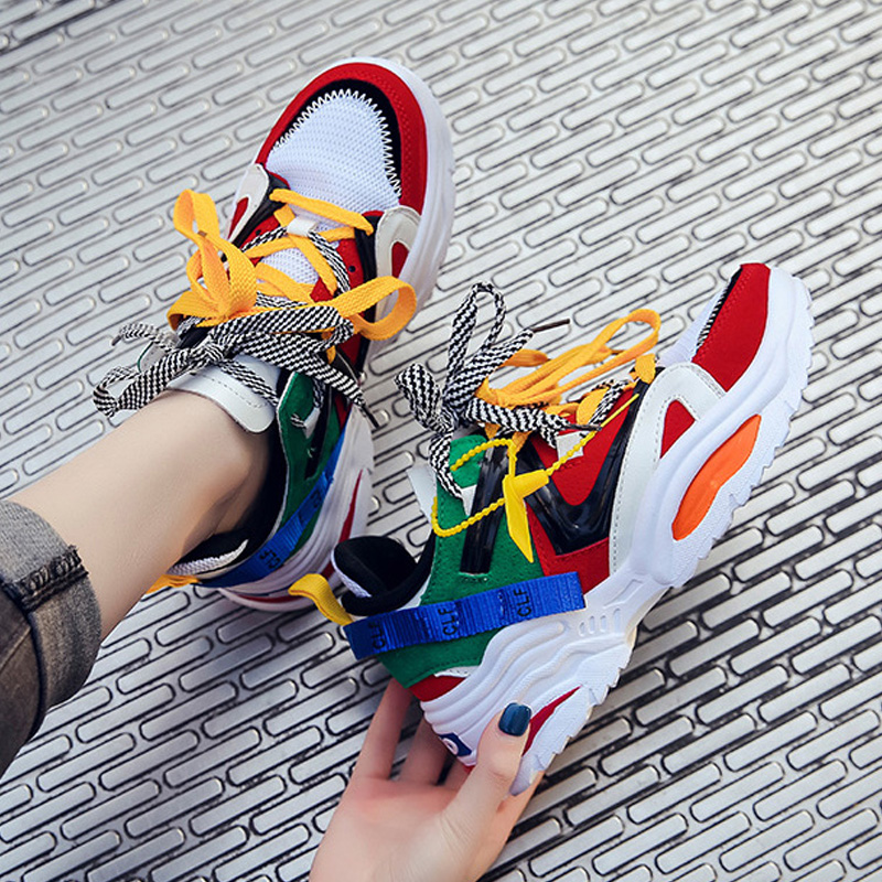 Fashion Sneakers Women Shoes New Women Vulcanize Shoes 2019 Platform Shoes Women Flats Female Chunky Sneakers Walking Shoes