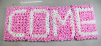 SPR Free Shipping 60*40cm pink WELCOME Artificial silk rose flower wall wedding backdrop arch flowers party decorations