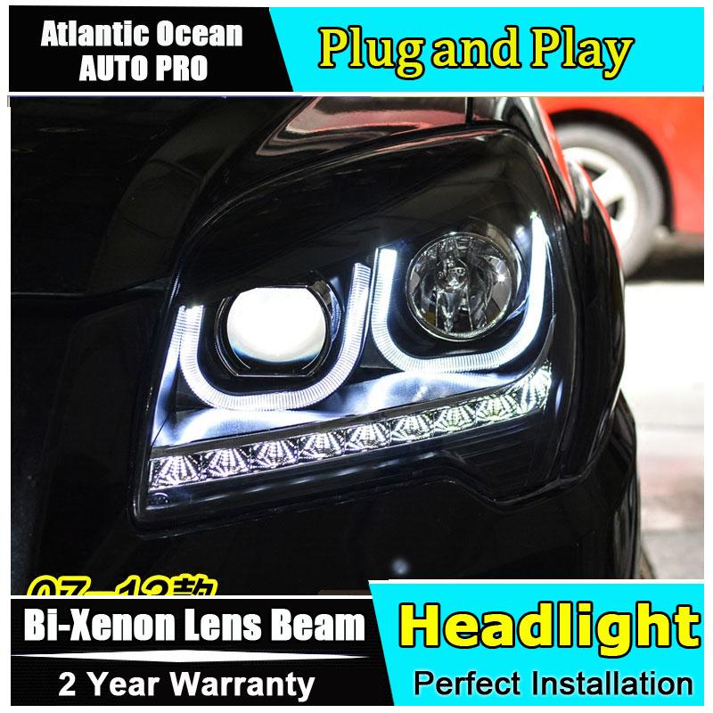 car styling For KIA Sportage headlights U angel eyes 2007-2013 For KIA Sportage head lamp Bi-xenon Double lens HID kit led drl car styling for hyundai ix35 headlights u angel eyes 2013 15 for hyundai ix35 led light bar q5 bi xenon lens led bulb projector