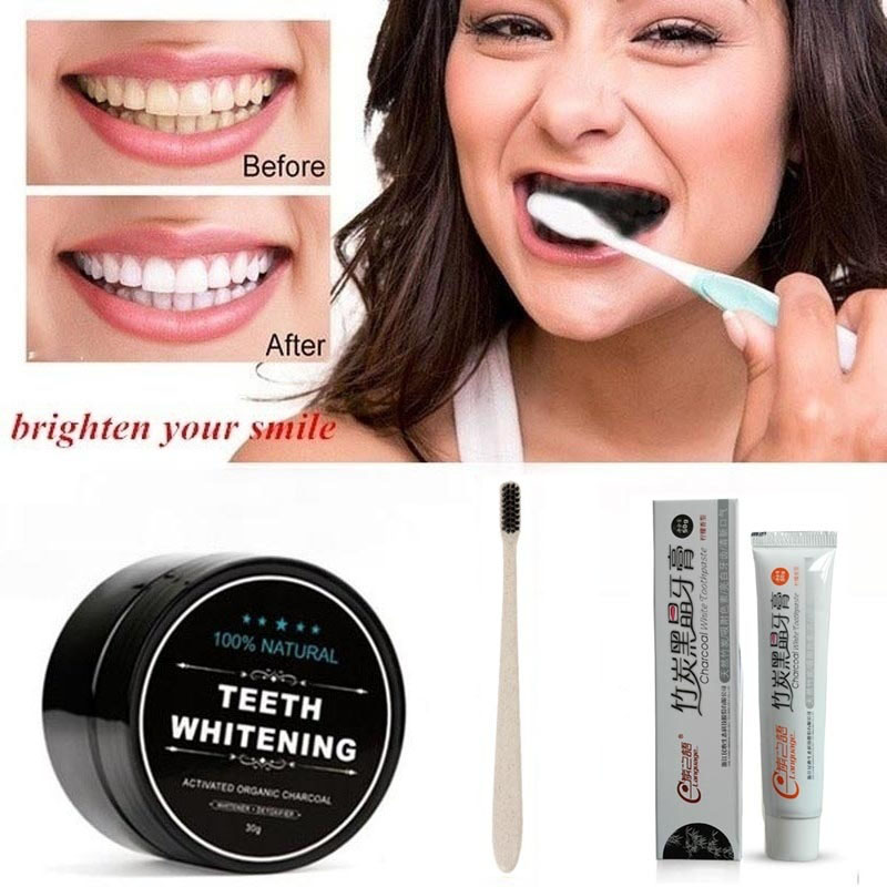 Toothpaste Toothbrush Tooth Powder Whitening Teeth Whitening Natural Organic Activated Bamboo Charcoal Yellow Teeth Cleaning Kit