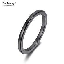 ZooMango – bagues en céramique pour femmes et filles, Anneaux classiques en noir et blanc brillant, bijoux d'anniversaire, tendance, bureau, 2mm, ZR19052