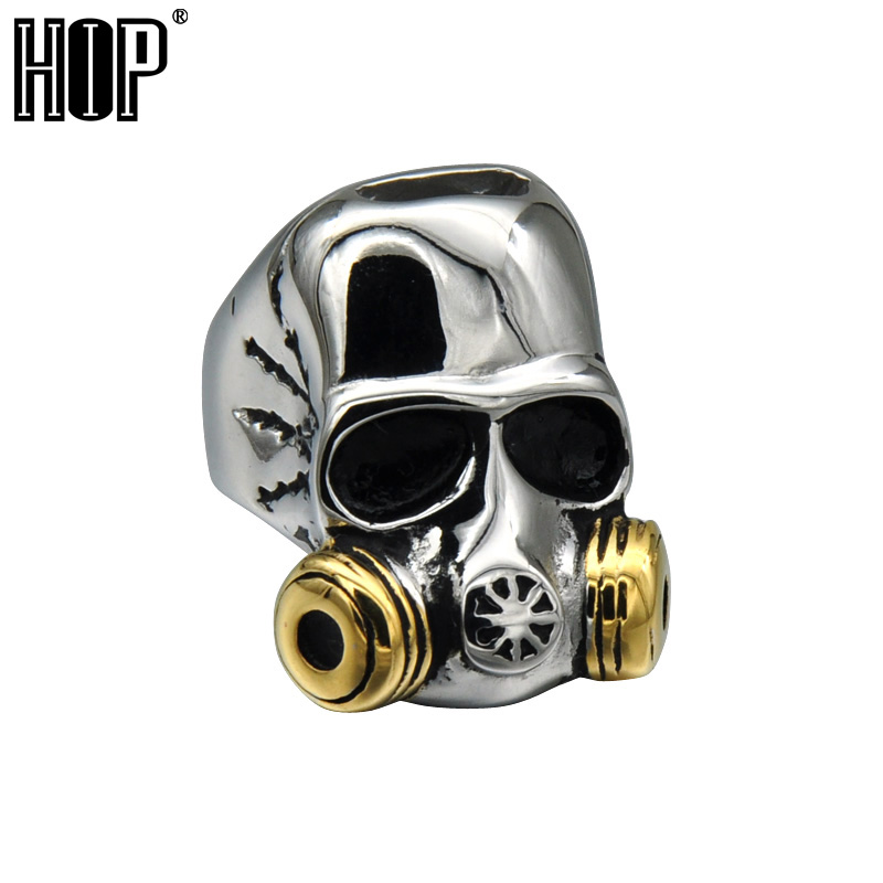HIP Punk Gothic Two Tone Gold Color Titanium Stainless Steel Gas Mask Skull Rings for Men Jewelry