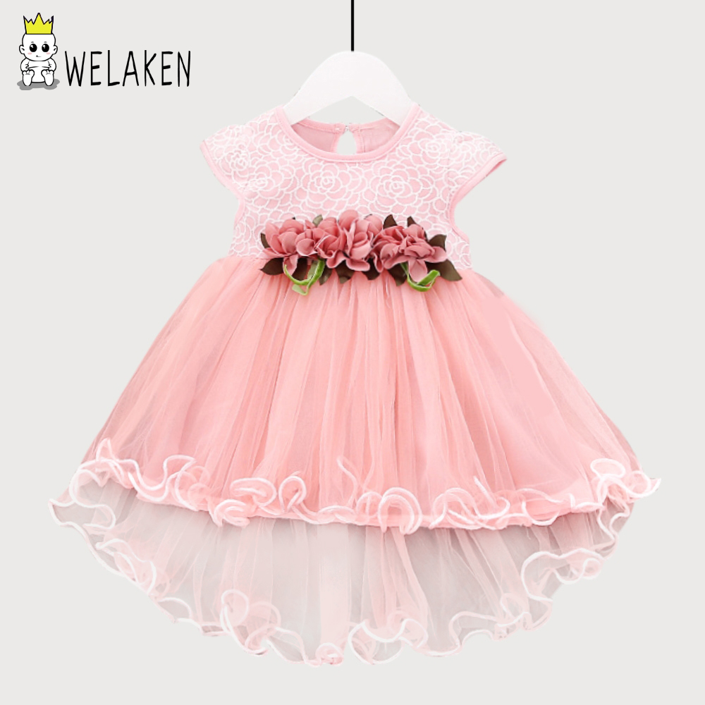 weLaken 2018 New Fashion Girls Dress Floral Lace Cute Kids Baby Outwear Spring Toddler O-neck Cotton Sleeveless Ball Gown Dress