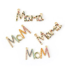 MEIBEADS Colored zircon CZ Mom Charms Connectors Jewelry Accessories Fit Childen Diy Mom Bracelet Necklaces Pendants(China)