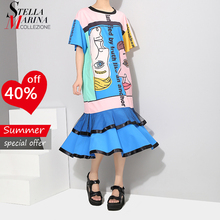 New 2018 Korean Style Women Summer Multicolor Sun Dress Letter Cartoon Printed Sundress Girls Cute Wear Loose Trumpet Dress 3507