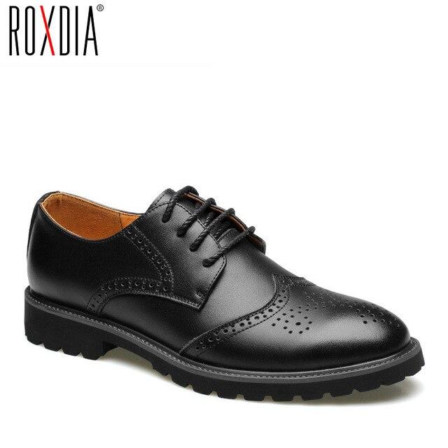 ROXDIA из натуральной кожи мужские строгие туфли броги Для свадебной вечеринки плоской подошве мужские туфли RXM060 Размер 39-44